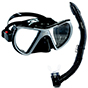 Aquagear M24 Mask and Snorkel Set Grey/Black