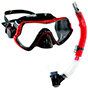 Aquagear M11 Mask & Snorkel Set Red/Black