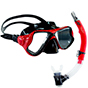 Aquagear M22 Mask & Snorkel Set Red/Black